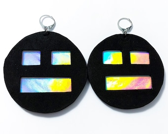 "Holographic Earrings ""Meh"" festival drag rave ethical vegan cruelty free acid house"