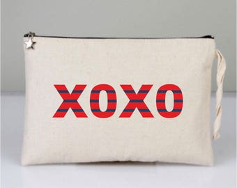 XOXO, XOXO Bags, Hugs and Kisses, Cosmetic Bags, Cotton Clutch, Printed Clutch, Cotton Bags, Red XOXO, Red