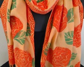 """Block print Rayon scarf.One-of-a-kind wearable art.Orange roses and border,green leaves on gold with 2"""" fringe."""