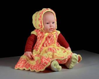 Crochet Baby Dress, Baby Bonnet, Baby Girl's Dress, Baby Set, Baby Clothing, 3-6 Months, Summer's Dream, Shower Gift Idea, Baby Gift Set