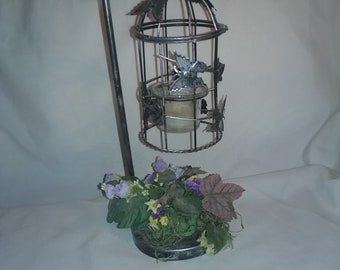 Vintage metal hanging Bird cage candle holder with butterfly and floral design