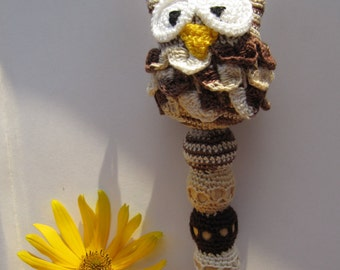newborn gift baby rattle Owl baby shower gift nursery crochet rattles teething toy handmade animal teether new baby toy first grasping toy