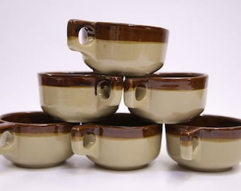 Vintage Western-Stoneware Monmouth Set 6 CHILI MUGS SOUP Cups Maple Leaf