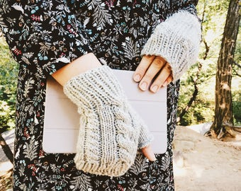 Knitted Gloves, Mens Knit Gloves, Men's Fingerless Gloves, Fingerless Wool Gloves, Womens Gloves, Dove Heather Grey || DOUBLE CABLE GLOVES