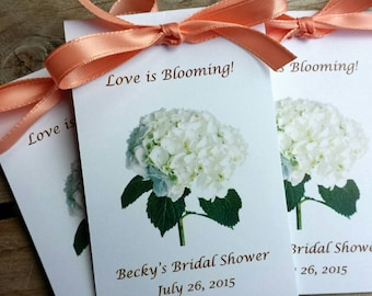 Personalized Wildflower Seeds with Hydrangea design on front for bridal shower or wedding day SALE CIJ Christmas in July