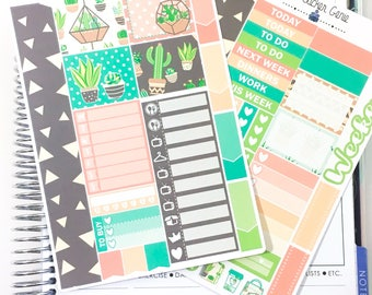 Summer cacti Mini Kit | Planner Stickers, Weekly Kit, 2 page weekly kit, personal weekly kit, succulent Weekly Kit, cactus weekly kit
