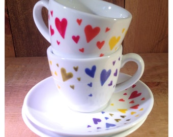 Two rainbow hearts gift set - espresso cups (set of 2), colourful, wedding gift, Christmas gift, UK seller, ready to ship