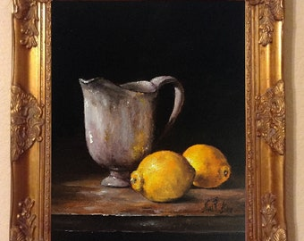 Pitcher with Lemons Original Oil Painting Still Life  Nina R.Aide 8x10x3/4 Wood Original Fine Art Gallery Kitchen Art Painting