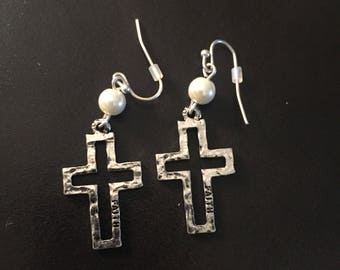 Silver Cut-Out Cross Earrings w/White Accents