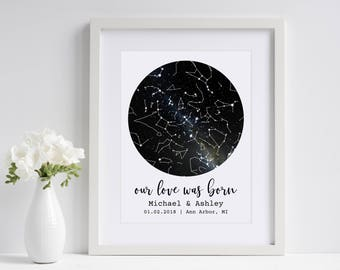 Our Love Was Born | Under This Sky | Custom Sky Map | Personalized Star Map | Star Print | First Anniversary Gift | Paper Anniversary Gift