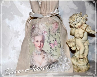 Lovely little pouch in beige cotton - theme Marie-Antoinette shabby