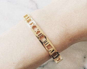 Roman Numerals Bangle Bracelet_ Gold/Rose Gold/Silver
