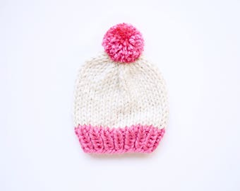 The Toddler Olivia Hat  x  Shown in Bubblegum & Cream  x  Toddler Pom Pom Beanie