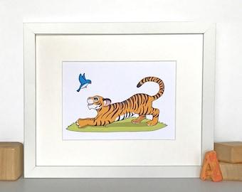 Tiger Cub with Bird // 8x10 Matted Nursery Wall Art // Children's Art Print // Jungle Theme Nursery // Baby Room Decor // Nursery Decor