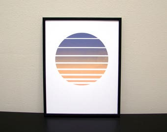 Sunset Stripes Screen Print / Circle Gradient
