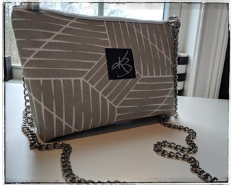 Light and Gray White Lines Fabric Crossbody Bag with Metal Chain Strap - Gift for Women - Small Bag - Popular Crossbody
