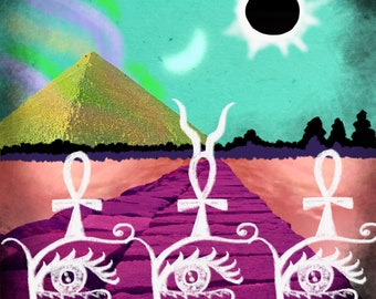 4x6 glossy digital art prints limited original designs popart weird art Ancient Eclipse egyptian surreal graphic