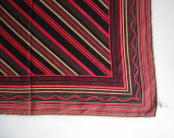 vintage German silk scarf with rolled edges