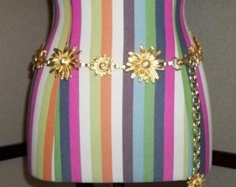 Women Belt Gold Metal Belt BOHO Flower Chain Belt Flower Metal Belt Classy Gold Flower Belt Vintage Belt Free Shipping