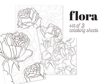 FLORA   Set van 3 bladen van de afdrukbare kleuren