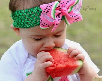 Girls Watermelon Headband, Watermelon Hair Bow, Watermelon Hair Clip, Pink And Green Watermelon,