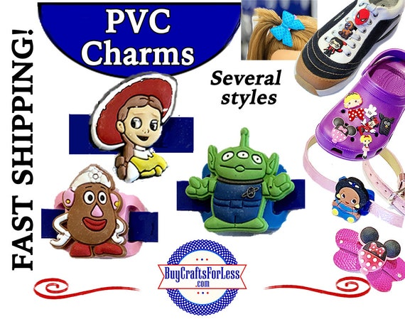 PVC Charms, Toy Story * 20% OFF Any 4 Charms * 99cent Shipping * For Shoes, Hair, Pins-Choose back-Button, Pin, Slider, Hair Clip, Velcro