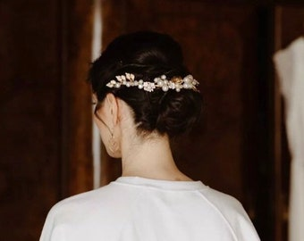 Vintage bohemian Bridal hair vine, gold rose gold leaf and flower design, silver diamanté, pearl beading prom or bridesmaids hair accessory
