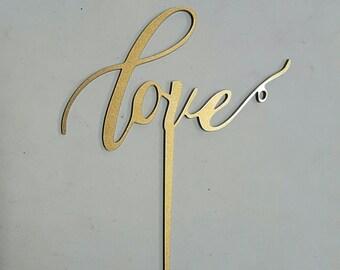 Cake Topper - Love (Gold)