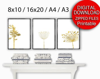 Printable A4 Scandinavian Print Set Gold Printable Art 16x20 8x10 Nature Art Set of 3 Prints