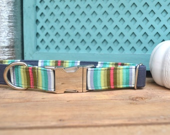 Striped Dog Collar, Male Dog Collar, Grey, Fall, Boy Dog Collar, Autumn Dog Collar, Metal Buckle