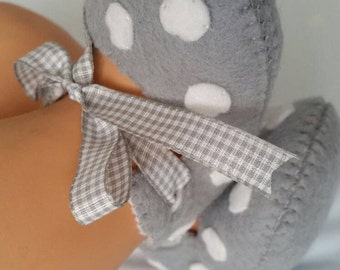 Light grey with white polka dots