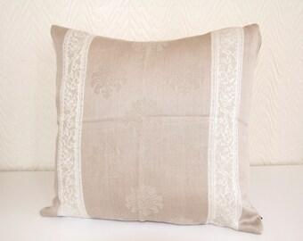 Cushion Queen Cotten Line Cushion Cover,Sand Tan