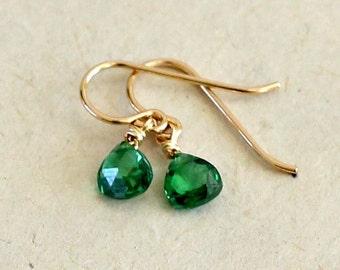 Emerald Earrings-Emerald Teardrop Earrings-May Birthstone Earrings-Small Green Earrings-Girls Earring-Gifts for Girls-Gifts Under 30