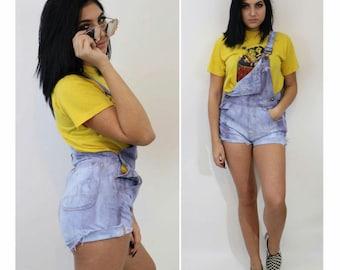 90's Tie Dye Denim Overall Shorts - Summer Jumper Shorts Small Medium - Light Blue Purple Tiedye - Vintage Upcycled Womens Overall Short