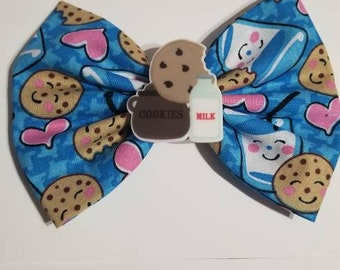 Cookies and milk fabric bow