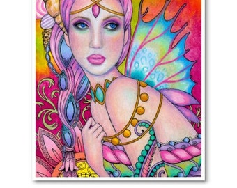 Signed 8 x 10 Print Ocean's Daughter Art Pink Nouveau Goddess Diva Mother Nature B. K . Lusk