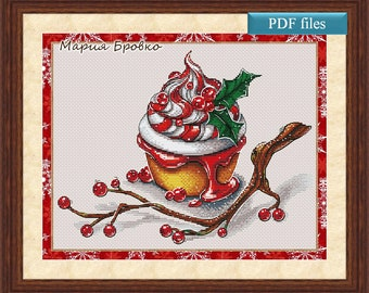 "Cross Stitch Pattern ""Christmas cupcake"" DMC Cross Stitch Chart Needlepoint Pattern Embroidery Chart Printable PDF Instant Download"