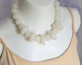 """Vintage Lucite Necklace Large Chunky Opalescent Confetti In White Opaque 18"""" Long Art Deco Mid Century Wedding Bridal Formal Statement"""