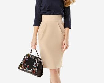 Two-color business dress Dress Formal dress Evening dress Women dress Midi dress Short dress Dress for work Beige dress Work dress Casual