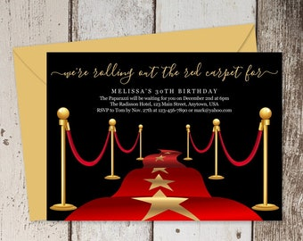 Printable Red Carpet Invitation Template - Hollywood Theme Party Invitations - Birthday, Retirement, Grand Opening Event - Instant Download