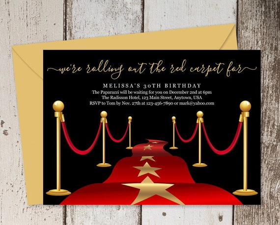 Printable Red Carpet Invitation Template Hollywood Theme