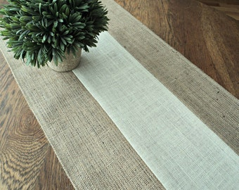 Burlap Table Runner Modern Rustic Home Decor Holiday Table Runner Wedding Table Runner Farmhouse Runner Bridal Shower Decorations