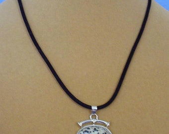 "18"" Dalmation Jasper Pendant Necklace - N582"