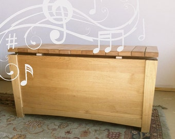 Musical cedar chest, musical toy chest, xylophone storage chest, wooden marimba hope chest