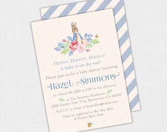 Peter Rabbit Baby Shower Invitation, Peter Rabbit Birthday Invite, Bunny Baby Shower Invite, 1st Birthday Boy Party Invite