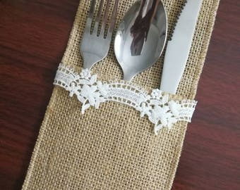 Set of 10-Burlap Silverware Holder,Rustic table decor, Wedding Table Set,Wedding Rustic Menu,Burlap table decoration,Table Setting- (PY)05
