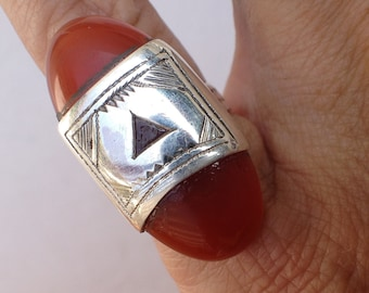 Tuareg Silver Ring with Carnelean US Size   Diameter  1.5 cm Small Size US 4 - 4 1/2