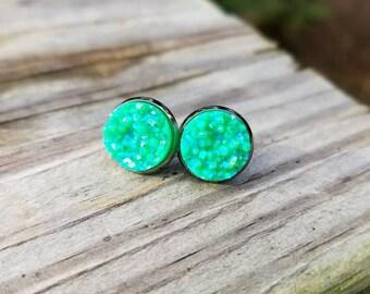 Jolly Green Faux Druzy Stud Earrings