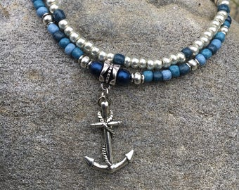 Beach Anklet, Anchor Anklet, Nautical Anklet, Ankle Bracelet, Blue and Silver Anklet, Beaded Anklet, Double Strand Anklet, Anklet