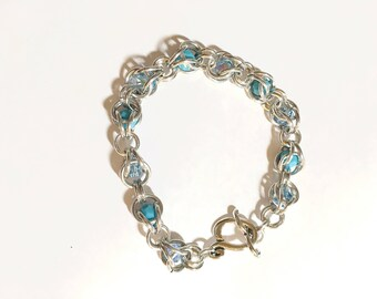 Chainmaille and Crystal Bracelet, Aluminum, Swarovski